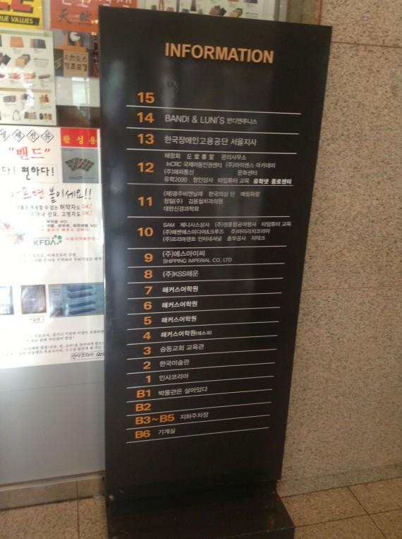 Корейское здание. 15 этажей вверх, 6 этажей вниз. Четвертый этаж вниз - книжный магазин.